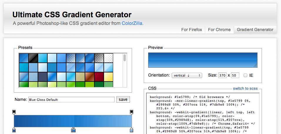 CSS Gradient Generator website
