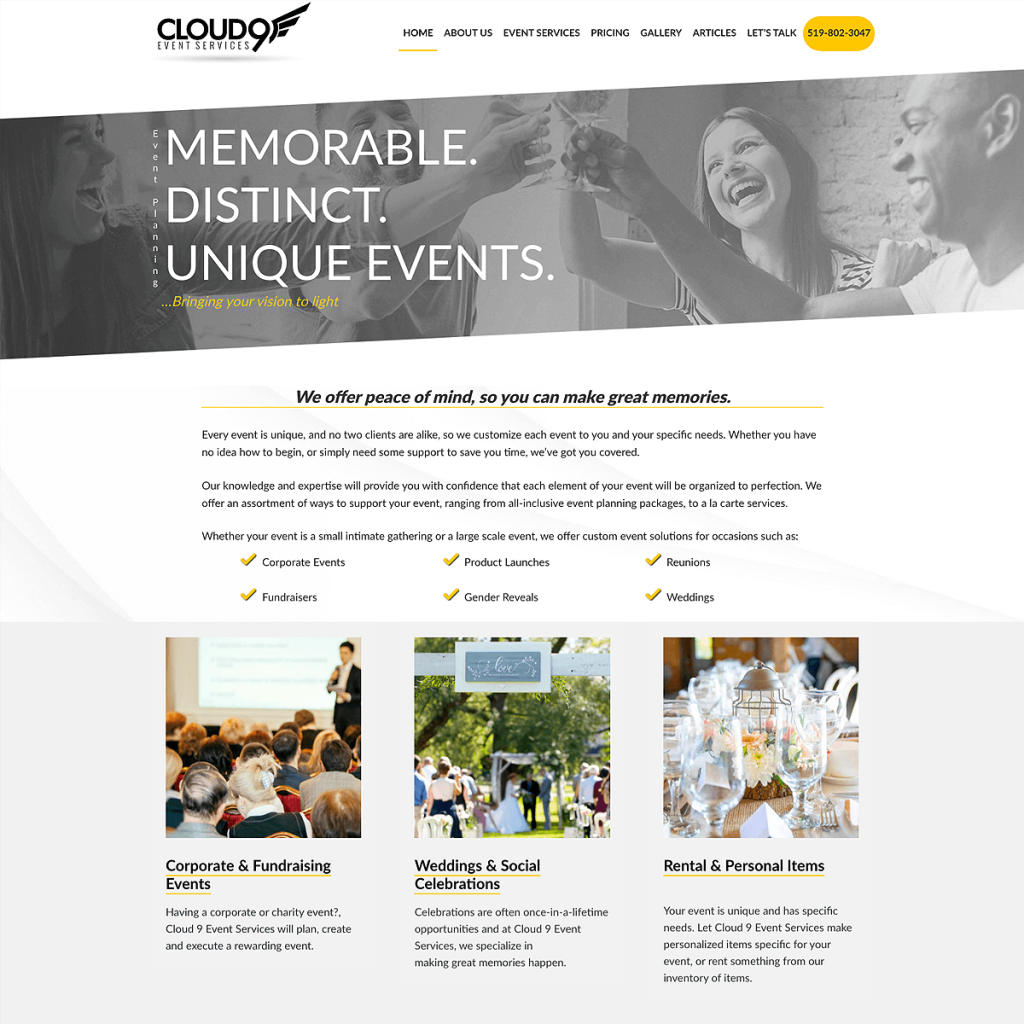 Website Design of Could 9 Event Services